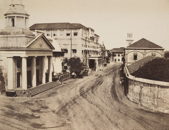 Scotch Church, Court-House, and entrance to the Dock-Yard [Bombay].